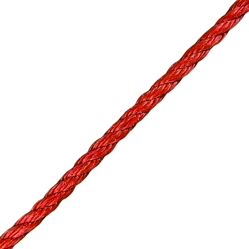 "CWC 3/8"" Red PolyPro 3-Strand Rope - 2430 lbs Breaking Strength"