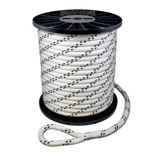 "CWC 7/8"" x 600 ft Braided Pulling Rope w/ Spliced Eyes - 24000 lbs Breaking Strength"