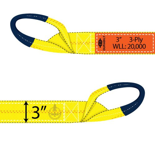 "Durabilt 3"" x 30 ft TowMaster Recovery Strap - 20000 lbs WLL - #TSR-3X30-3P"