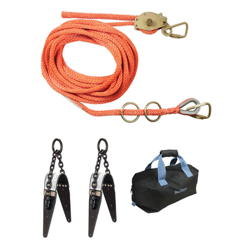 FallTech 50ft 2-Person Horizontal Lifeline System w/ Chain Anchors - #7493A502