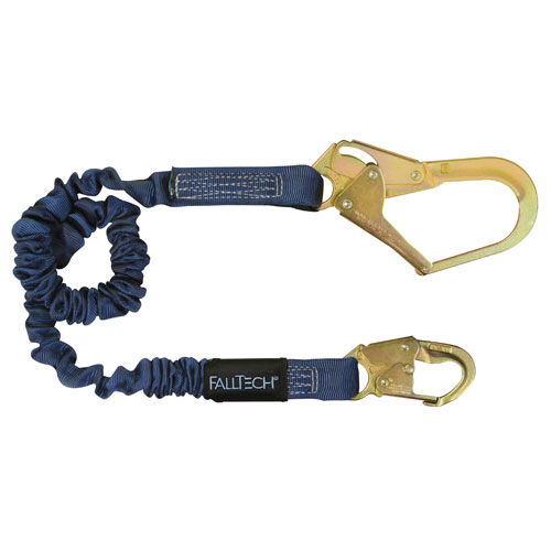 FallTech ElasTech Single Leg Web Lanyard - Steel Rebar Hook - 6 ft - #82403