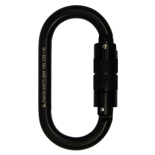 Fusion Ovatti Oval Steel Carabiner - Black - Double-Locking - #FP-9108-BLK