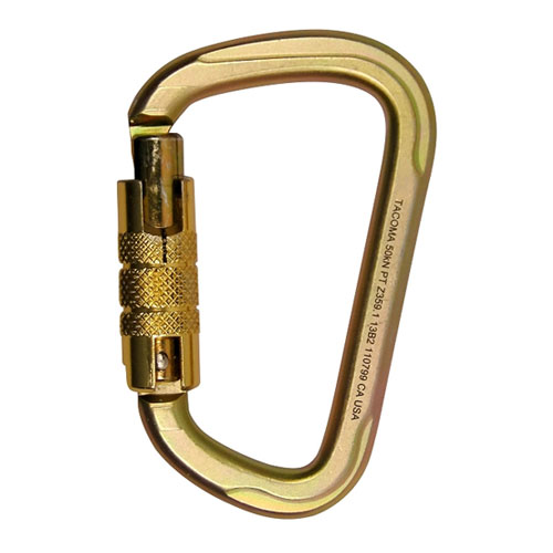 "Fusion Tacoma Modified ""D"" Steel Carabiner - Triple-Locking - #FP-9005G-T-PK"