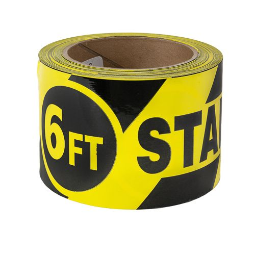 """Harris 3"""" x 108 ft Yellow / Black """"Stand Here"""" Social Distance Floor Tape"""