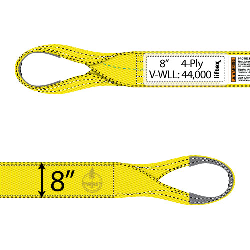 "Liftex 4 Ply 8"" x 10 ft Eye & Eye Pro-Edge Web Sling - 44000 lbs WLL"
