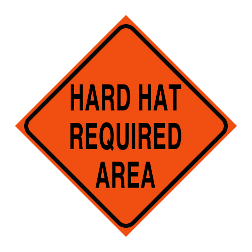 "Logging Sign - ""Hard Hat Required Area"" - Corrugated Plastic 24"" x 24"""