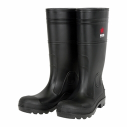 MCR Black PVC Plain Toe Boots - 14""