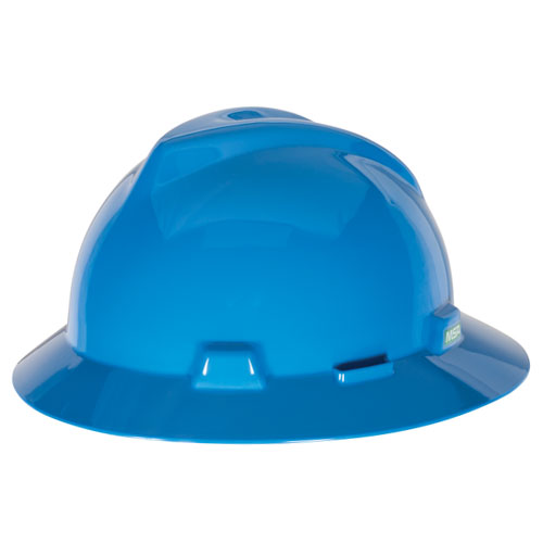 MSA V-Gard Full Brim Hard Hat - Blue - #475368
