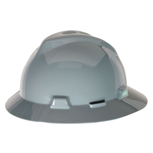 MSA V-Gard Full Brim Hard Hat - Gray - #475367