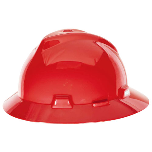 MSA V-Gard Full Brim Hard Hat - Red - #475371