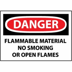"""National Marker Safety Sign - """"Danger Flammable Material..."""""""