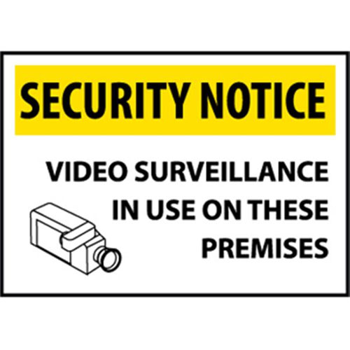 """National Marker Safety Sign - """"Security Notice Video Surveillance..."""""""