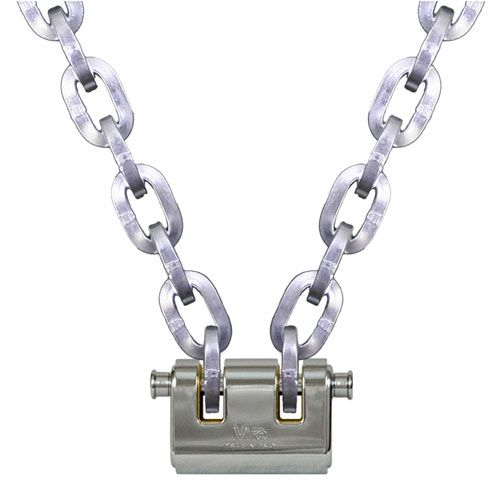 "Pewag 3/8"" (10mm) Security Chain Kit - 20 ft Chain & Viro Padlock"