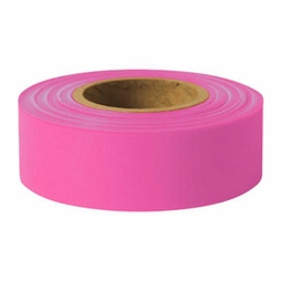 "Presco 1-3/16"" x 150 ft Pink Glo Taffeta Roll Flagging"