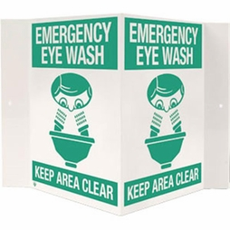"Safety Sign - ""Emergency Eye Wash"" - 3-D"