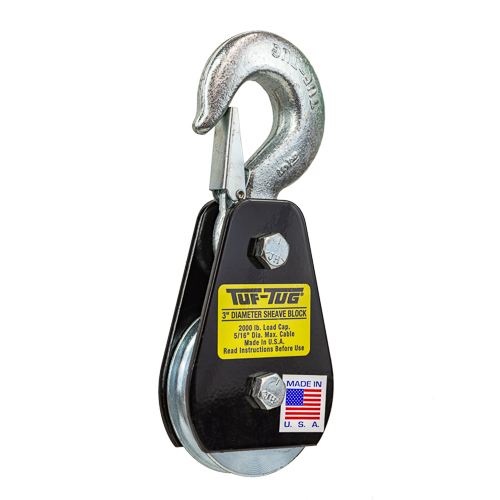 "Tuf-Tug 3"" Snatch Block w/ Hook - 1 Ton WLL"