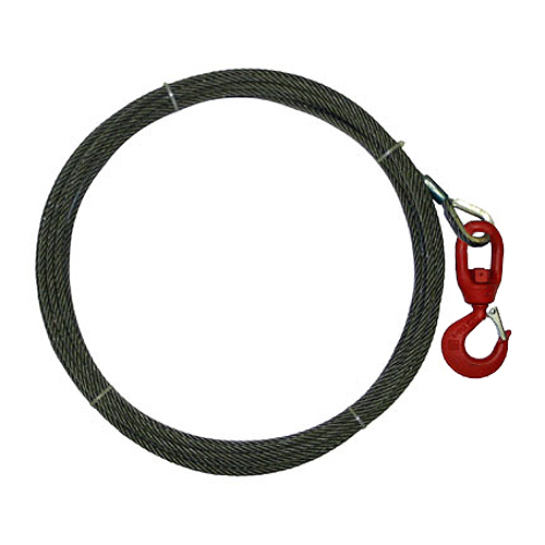 "1/2"" x 50 ft Wire Rope Winch Line - Swivel Hook - 26600 lbs Breaking Strength"