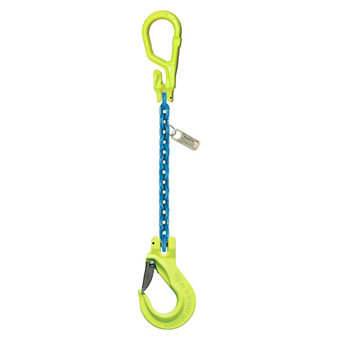 "3/8"" x 5 ft Type MG-EGKN GrabiQ Adjustable Single Leg Grade 100 Chain Sling - 8800 lbs WLL"