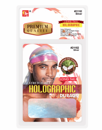 Beauty Town Stretchable Silver Holographic Long Tail Durag #21152