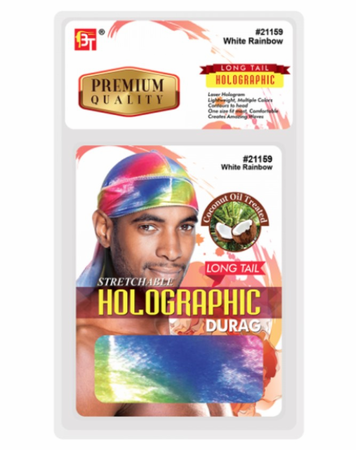 Beauty Town Stretchable White Rainbow Holographic Long Tail Durag #21159