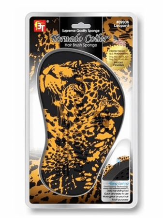 BT Tornado Coiler Hair Brush Sponge 10mm Hole Leopard #09936
