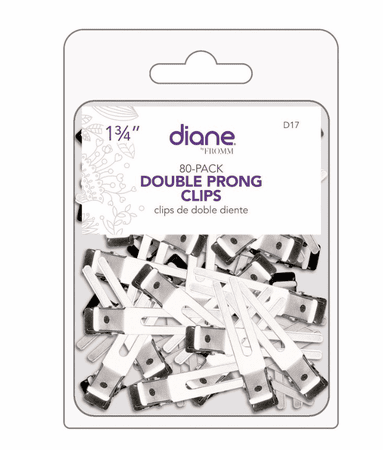 Diane Double Prong Clips 80 Pack Silver 1 3/4