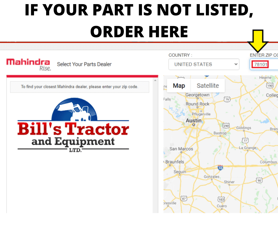 MAHINDRA PARTS CATALOG**(CLICK ON PARTS CATALOG AND TYPE IN 78101 FOR ZIP CODE) SELECT BILL'S TRACTOR & EQUIPMENT INC**