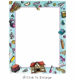 Rockin School House Library Border Paper