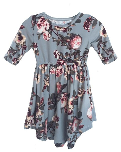 Bailey's Blossoms | Gray Floral Dress