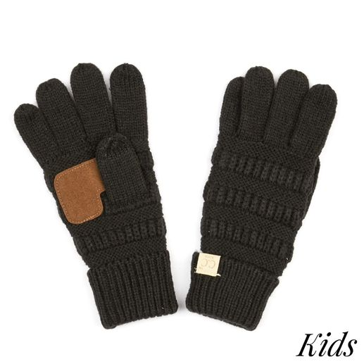 CC: Black Kids Knit Gloves