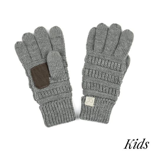 CC: Gray Kids Knit Gloves