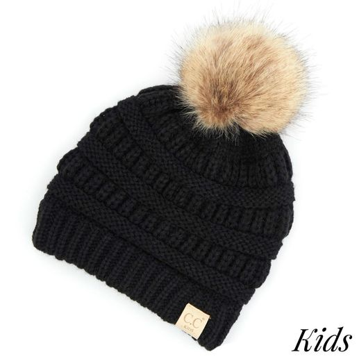 CC: Kids Black Fur Pom Beanie