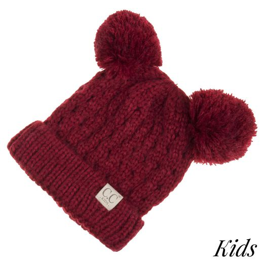 CC: Kids Red Double Pom Beanie