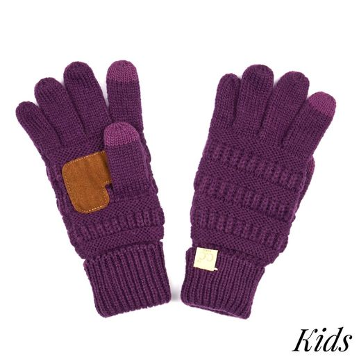 CC: Purple Kids Knit Gloves