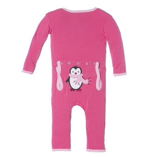 Kickee Pants | Applique Coverall: Winter Rose Penguin