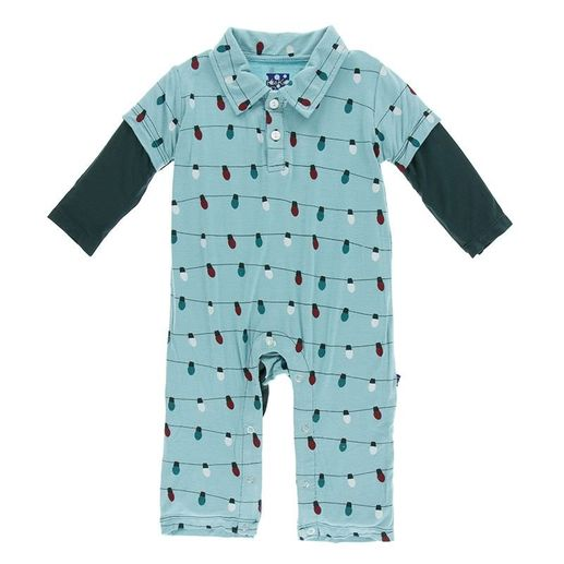 Kickee Pants | Glacier Lights Polo Romper