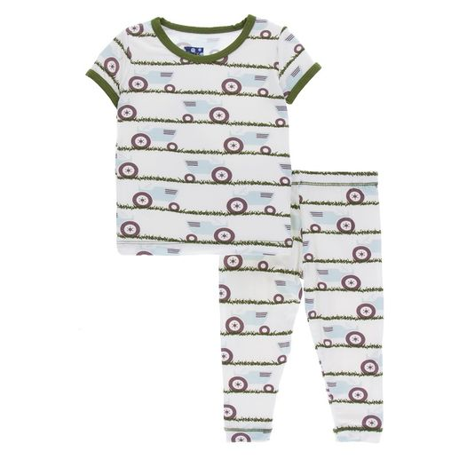 Kickee Pants | Pajama's: Natural Tractor & Grass