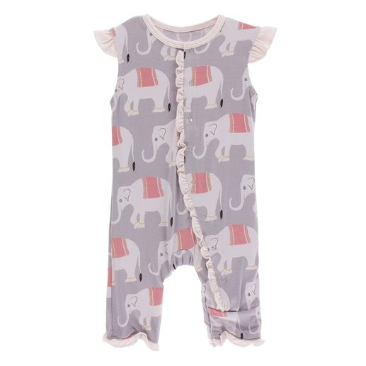 Kickee Pants | Ruffle Tank Romper: Feather Elephant