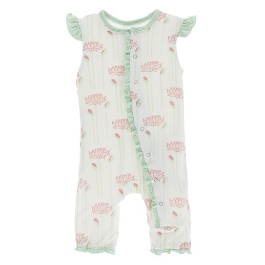 Kickee Pants | Ruffle Tank Romper: Natural Lotus Flower