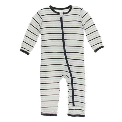 Kickee Pants | Zip Coverall: Tuscan Afternoon Stripe
