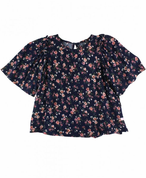 RuffleButts | Navy Floral Top