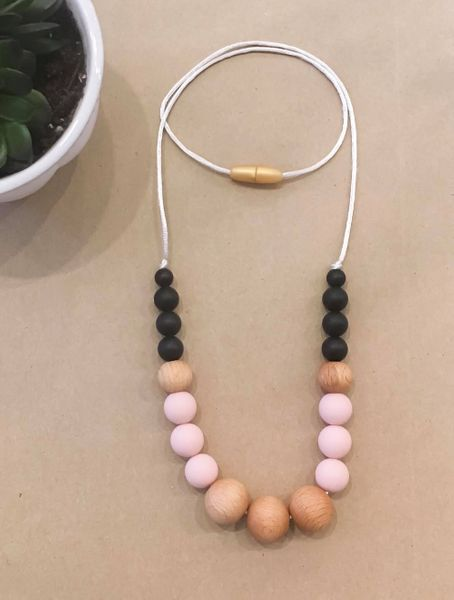 Teething Necklace | Blush & Black Wood