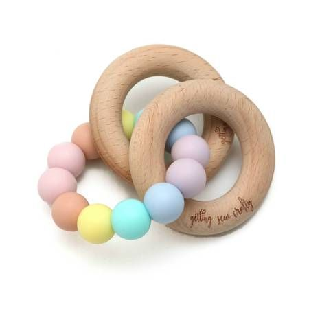 Teething Rattle | Rainbow Pastel
