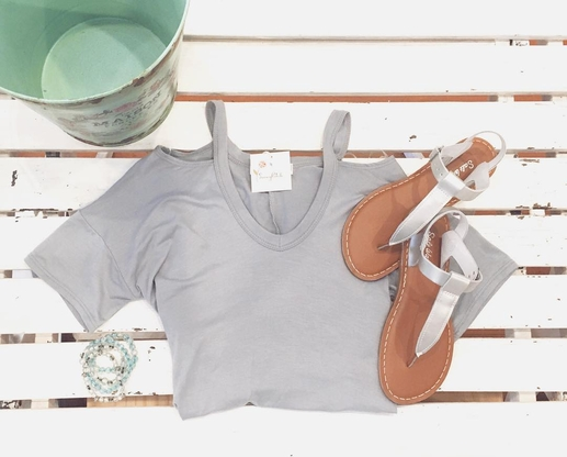 Women's | Ash Mint Cold Shoulder Top