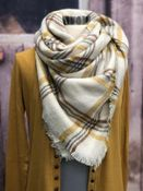 Women's Blanket Scarf | Cream and Mustard