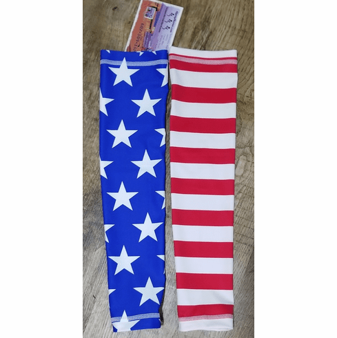 Arm sleeves one red and white, one blue stars