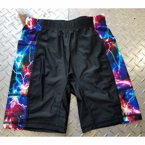 Double Pocket black-with-lightening shorts - STOCKED
