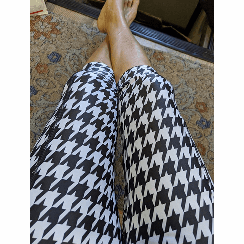 Double pocket capris houndstooth-stocked