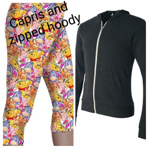 Double pocket capris with zipped hoody