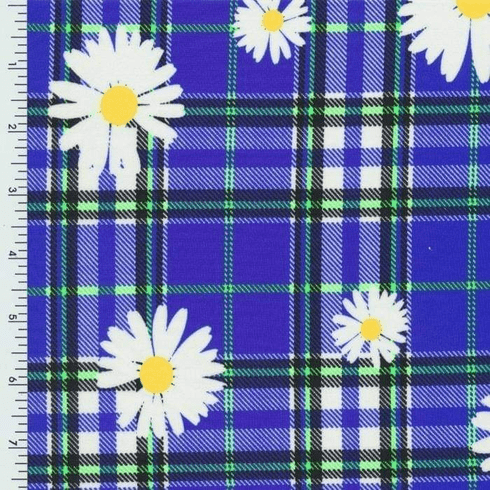 Double pocket pants blue plaid with Daisies